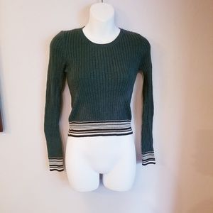 Topshop forest green sweater with stripes
